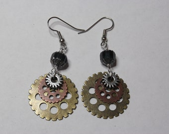 Engineered Elegance Earrings - Gears, Steampunk, Silver, Copper, Brass, Victorian, Blue, Green, Olive, Peridot - Great Gift!