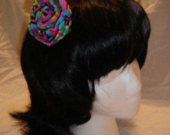 cloth handmade rose barette 80s colors neon spandex rainbow hair barrette