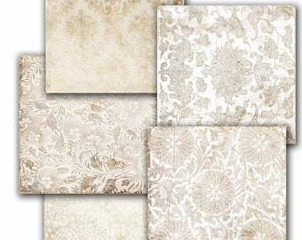 INSTANT DOWNLOAD. Decoupage paper supplies, Vintage  White Shabby Chic Background, scrapbooking ,  Digital Collage Sheets 12x12'' (1)