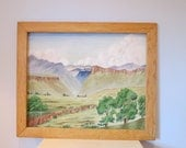 ON SALE Southwest VIntage Painting, Mountains, Mesa, Canyon,