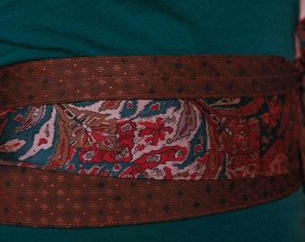 Brown Paisley Vintage Upcycled Neckties Obi Corset Belt Teal Red