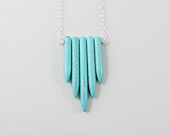 Turquoise necklace, sterling silver turquoise spike necklace, blue stone necklace