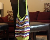 FALL SALE Crochet Market Tote Bag - Lime, Pink, White, Blue and Purple Striped Market Tote Bag - Ready to ship