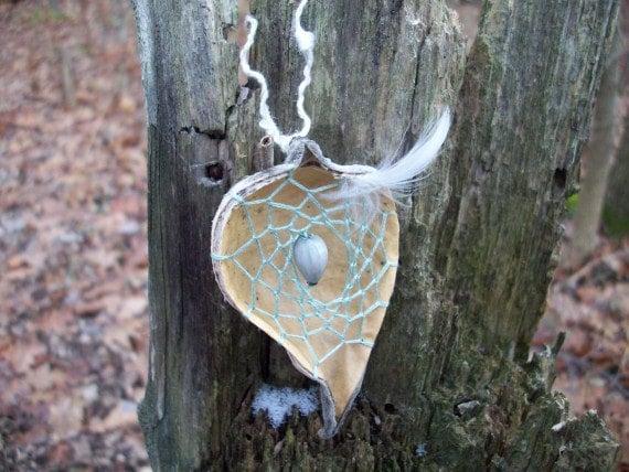 All Natural Dreamcatcher Milkweed Pod - Sage Green - Decoupage Gift Box