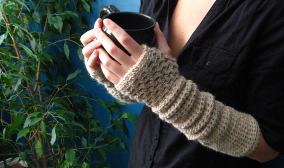 Crocheting Using Your Arms : Crochet Pattern for Warm My Arms Slouch / Fingerless by kraftling