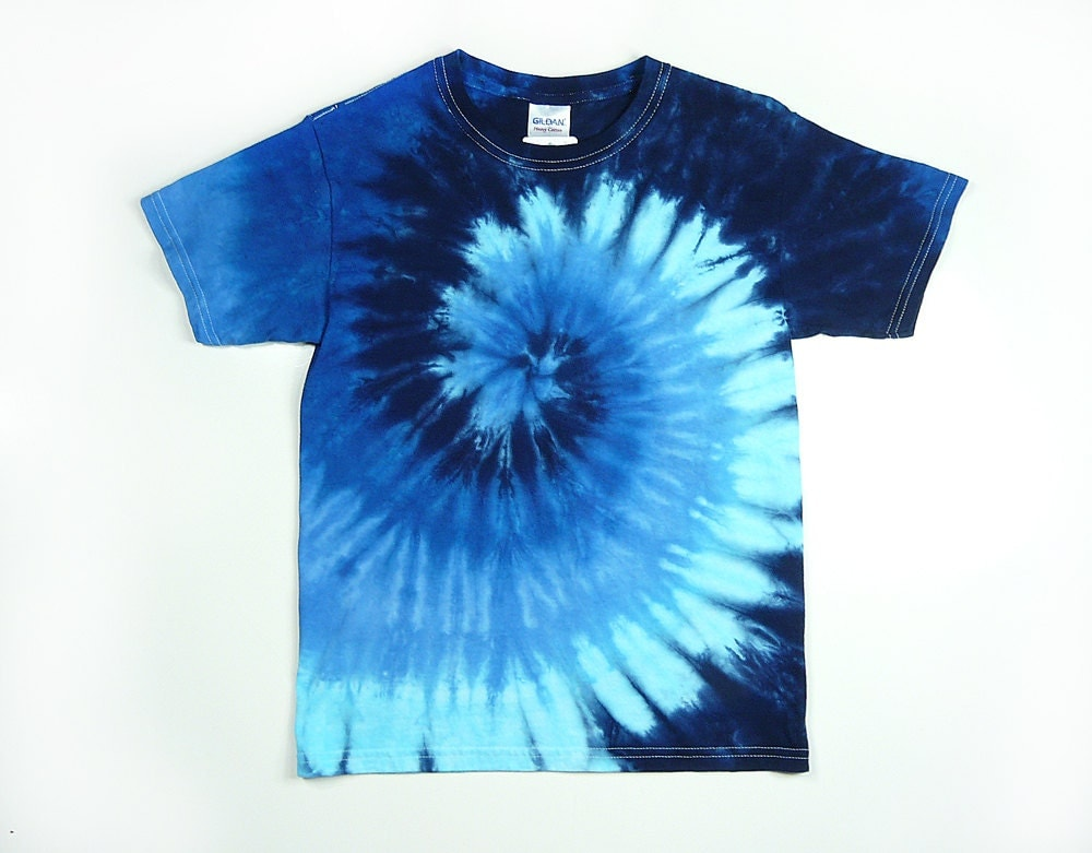 Tie dye shirt youth blue spiral design size xs s m or l for Tie dye t shirt patterns