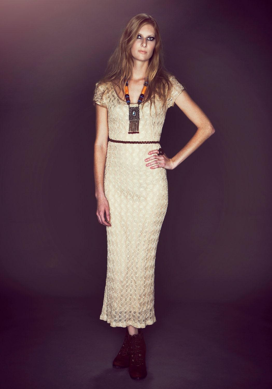 80s Nude Lace Crochet Bohemian Maxi Dress Ivory Wedding