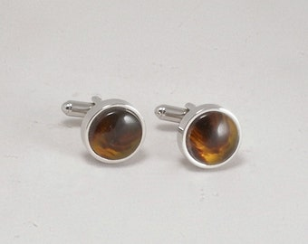 Cuff Links of Translucent Faux Animal Horn