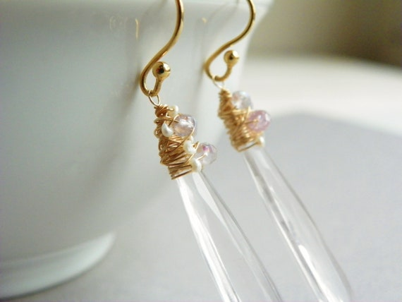 Rose Quartz Drop Earrings in 14k Gold. Delicate Light Pink Earrings.  Pearl Earrings. Long Gold Earrings. Gifts for Her.