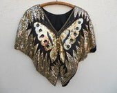 Vintage 70s/80s Sequined BUTTERFLY Disco Top