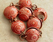 "Steampunk'd in Red, Etched Copper Circles and Cogs, Domed Bracelet, 7-7.5"" Wrist"
