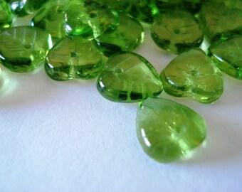 Czech Olive Green Glass Heart Leaves 10x10mm