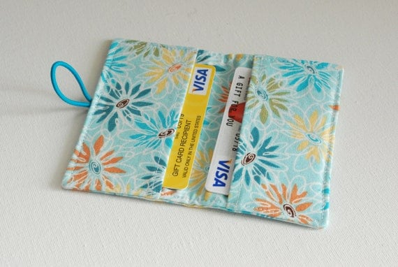 Spring Flowers - Fabric Mini Wallet / Business Card / Gift Card Holder, WITH CLOSURE