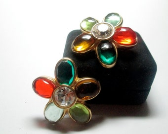 Vintage Earrings Poured Glass Unsigned Hattie Carnegie 1950s