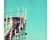 santa cruz, carnival photography, wooden roller coaster, ruby red, aqua sky, summer - Big Dipper, 8x8 photograph