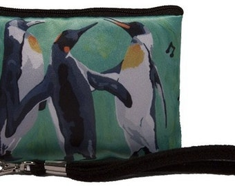 Penguins Wristlet by Salvador Kitti - Great for a Small Camera, Small Cell Phone, MP3 or iPod - From My Original Painting, The Trio -SALE!