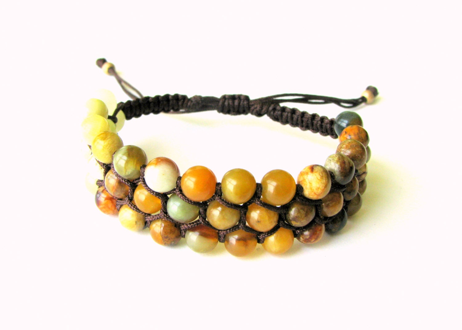 macrame beaded bracelets macrame beaded bracelet with jade and brown thread 8005