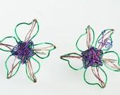 Wire earrings flower jewelry Colorful wire earrings Flower earrings Navy blue earrings Blue green earrings Everyday ear pin earrings.
