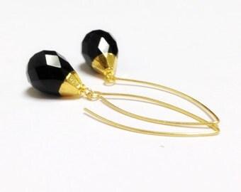 Black Earrings - Onyx Gemstone Jewelry - Gold Jewellery - Long - Luxe - Chic - Dangle - Pierced