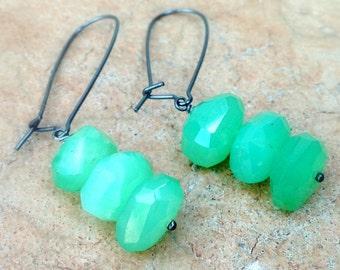 Chrysoprase Earrings - Green Earrings - Sterling Silver Oxidized Jewelry - Gemstone Jewellery - Faceted Nugget