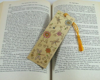 Dragonfly Bookmark - Wood Pyrography - Flowers and Dragonflies