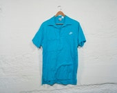 Vintage 80s NIKE Teal Blue Pocket Polo Medium