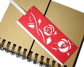 "Papercut Bookmark - Red & White: ""Rose Vine"""