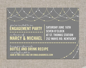 engagement party invitation - light strings - DIY printable file by YellowBrickStudio