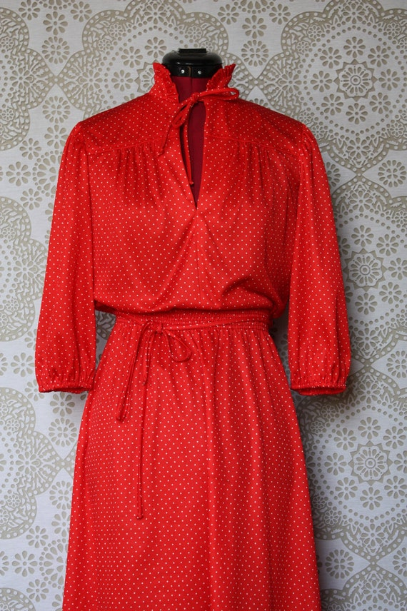 Vintage Red and White Polka Dot Day Dress S/M