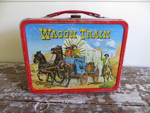 Vintage wagon train lunchbox metal lunchbox childs lunchbox lunchpail