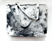 Ready To Ship. B L E A C H BLACK HAND DYED Cotton Tote Bag. Tie Dyed Market tote.