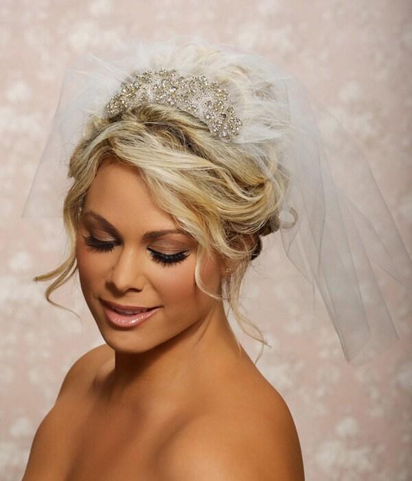 1950 S Style Wedding Hair: Wedding Bridal Blusher Veil 1950 Veil Swarovski Crystal