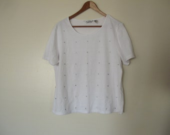 90s grunge punk white crop tshirt cropped white short sleeve crop top silver stars print pattern XS S M  starry
