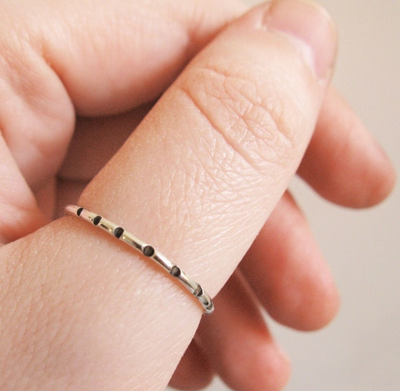 Polka Dot Thin Stacking Ring  - Sterling Silver with Hammered Oxidized Black Dots, Modern, Minimalist