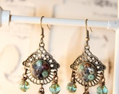 OOAK Vintage Inspired Brass Filigree and Bead Earrings