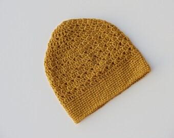 Gold Crochet Beanie Light Weight Sparkle Crochet Hat Golden Yellow Beanie Womens Beanie Teen Girls Beanie (HAT103 Gold)