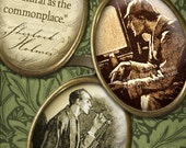 Sherlock Holmes - Victorian Steampunk 30x40mm Cameo-Size Oval Images - Digital Collage Sheet - Instant Download and Print - Printable Images