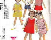 vintage 1965 mccalls childs DRESS jumper pants top sewing pattern SIZE 2 toddler wardrobe scoop neck retro