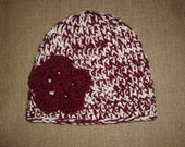 Adult Maroon and Cream Double-Strand Chunky Crochet Flower Hat / Beanie, Texas A&M, TAMU, Aggie, Mississippi State Bulldog