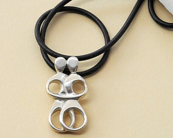 Greek Love Sterling Silver Necklace Abstract Cycladic Lovers Figurines, Greek Art Jewellery, Geometric Necklace, Minimalist Art Necklace