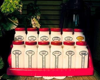 Vintage Griffith Standing Spice Rack with Milk Glass Spice Jars