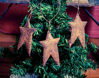 3 Rusty Primitive Tin Star Ornaments Holiday Christmas Decorations Rustic Decor Barn Metal Farmhouse 2.5""