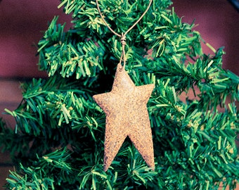 1 Rusty Primitive Tin Star Ornament Holiday Christmas Decorations Rustic Decor Barn Metal Farmhouse