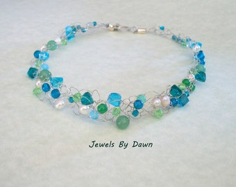 necklace, green and blue necklace, wire crochet necklace, pearl jewelry, special occasion jewelry