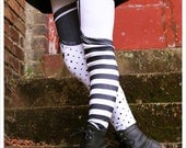 Pippi Leggings - WHITE Black Striped GARTER Legging  - Polka Dot Striped Tights - pant -  Legging Womens Tights