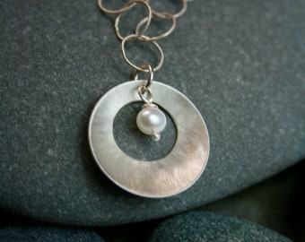 Silver and Pearl Pendant Necklace - Round Silver Pendant Necklace