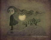 Gothic Art, Halloween Art, Horror Illustration, Fine Art Print, Drawing of a Ghost and Sea Monster at Night - Haunt by Amalia K