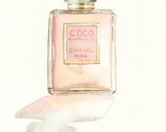 Coco Mademoiselle Chanel Giclee Print of Watercolor Painting Paris Perfume Bottle Christmas Valentines Gift for Her under 25 under 50