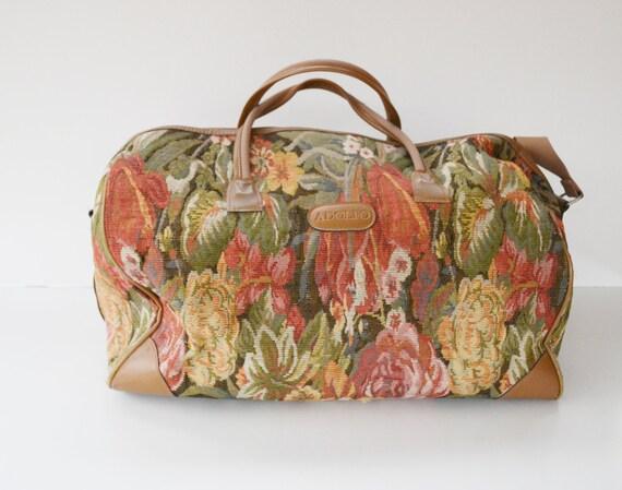 Vintage Floral Print Carry On Bag Adolfo Luggage Weekender Bag