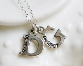 Letter Necklace Two Initial Date Sterling Silver Birth Wedding Adoption Gift